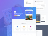 AppStarter Freebie psd freebie free mobile gradient blue landing sketch app user interface ui kit ui