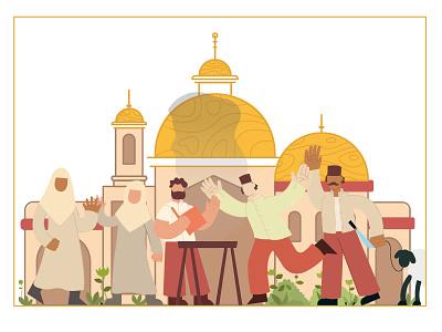 Eid Al Adha muslims vector design illustration flat