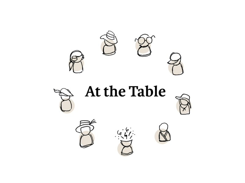 At The Table - Cover print table personas teaching mfa circle sketches icons education design thesis cover book