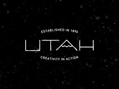 Utah Vintage Logo hand utah type typography mountain creativity thin texture vintage logo brand