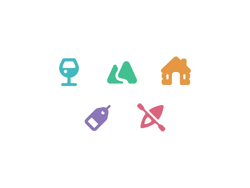 Travel App Icons app adventure kayak label tag house lodging cabin outdoors mountain beverage drink wine category log logo mark illustration icon travel