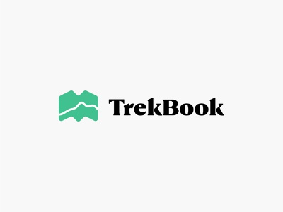 Travel Log App – TrekBook trekking product mobile illustration identity logo brand icon green serif journal trail map application app log travel book trek trekbook