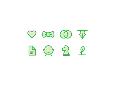 Community Identity Icons illustration green alignment document pen leaf knight chair community personality nonprofit studio strategy set icon mark logo identity brand branding