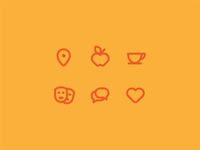 Category Glyphs nonprofit teaching strategy set culture theater bubbles speech coffee apple illustration category community branding logo identity brand icon pin glyphs