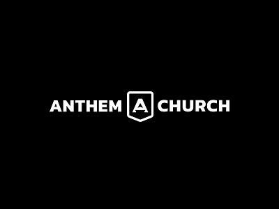 Anthem Church monogram logo design white black bold altar chevron banner a nonprofit church anthem branding mark logotype brand identity logo