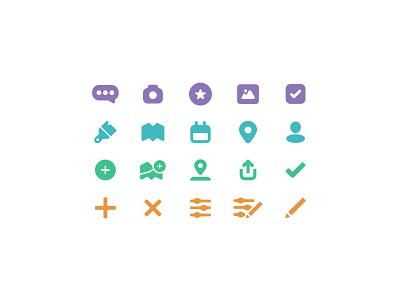 TrekBook Icons tourism log travel logo branding design identity illustration application mobile app interface glyphs icons ui