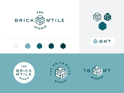 Brick N' Tile Studio Identity system studio old graphic design sculpture model tile brick vintage icon mark logo branding brand design illustration identity visual lego