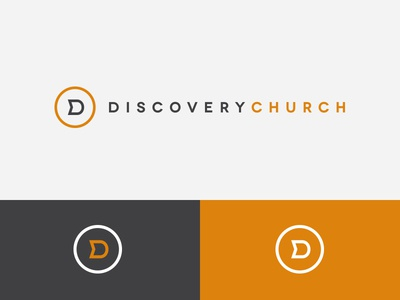 Discovery Church Brand discovery church logo brand d mark identity ministry orange clean minimal
