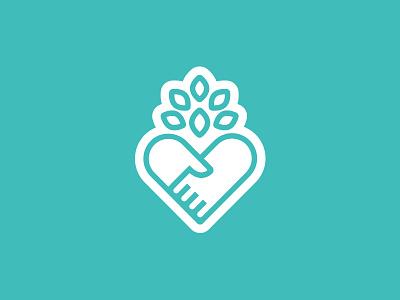 Healthcare App Logo npo cancer health healing heart hands leaves tree icon brand mark logo