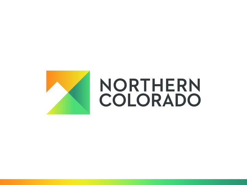 Northern Colorado Brand grotesque yellow orange square green gradient abstract mountain logo mark brand colorado