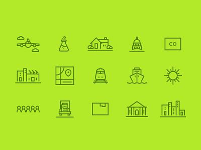 Northern Colorado Icon Set flask map truck building sun train plane logo icon illustration green colorado