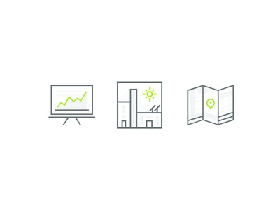 Northern Colorado Illustration Set business graphic map office building screen presentation icon illustration green colorado