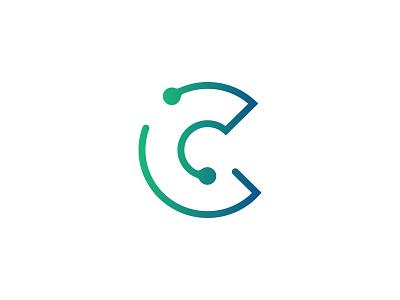 C Technology letter technology tech brand identity logo gradient binary minimal line