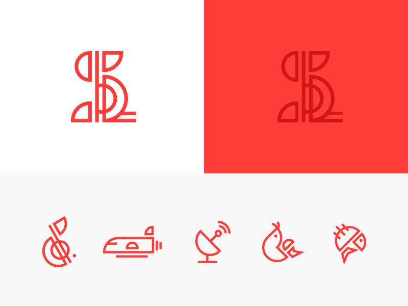South Louisiana Mark & Icons tech technology line note music crawfish fish identity logo brand marks icons