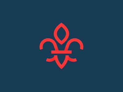 Louisiana Fleur-de-lis gradient line louisiana brand identity logo icon mark lis fleur