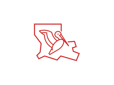 Louisiana Pelican state louisiana identity brand branding mark icon logo art line place pelican