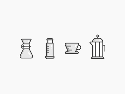 Coffee Icons illustration set icon craft chemex kalita v60 press french aeropress coffee