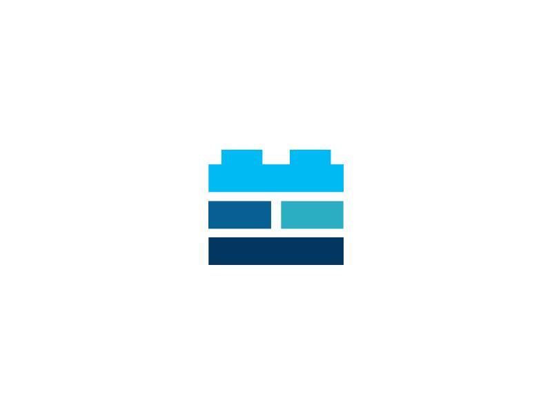 Brick Logo design brick wall building architecture blue identity brand mark icon lego brick logo