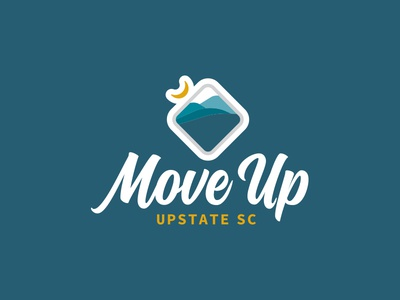 Move Up - Upstate South Carolina Identity badge script mountains south carolina mark icon branding brand identity logo