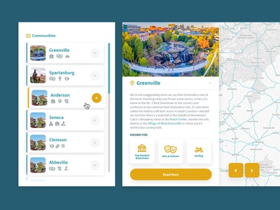Upstate South Carolina - Communities place branding tourism economic development app  design filter map south carolina ui ux list app interface website