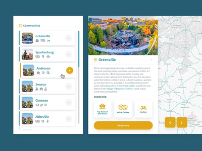 Upstate South Carolina - Communities place branding tourism economic development app  design filter map south carolina ui ux list app interface website