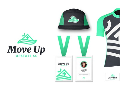 Upstate SC - Unused place place brand green badge hat cycling jersey water mountain icon mark logo identity brand