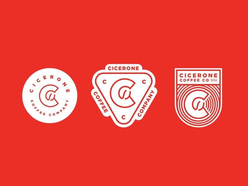 Cicerone Coffee Company Identity patch bean line art roaster coffee shop branding system mark logo brand identity coffee cicerone