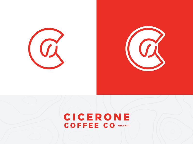 Cicerone Coffee Identity monogram coffee shop adventure topographic map logotype badge bean c brand branding icon mark logo identity coffee cicerone