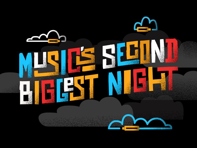 Music's Second Biggest Night - Logo Treatment blocks illustration funk primary flat jazz music branding logo