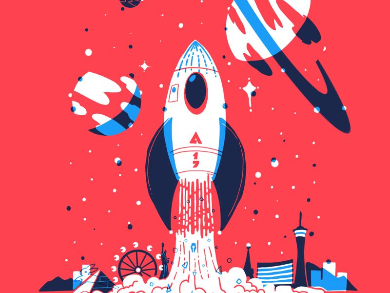 Adobe Max 2017 las vegas blast off digital illustration poster rocket adobe adobe max