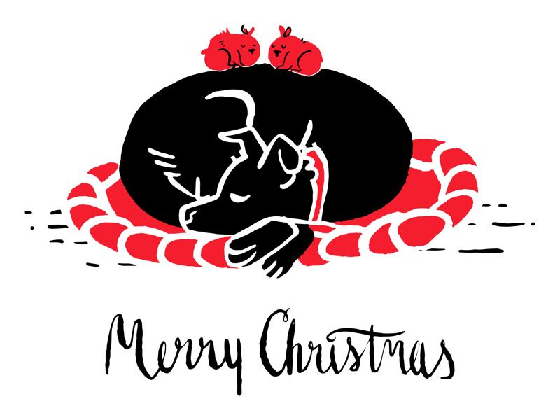 2017 - Christmas Card puppy procreate illustration card christmas