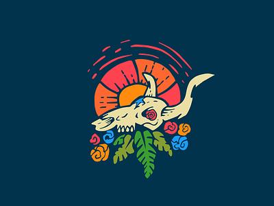 Bone Head south flowers skull longhorn midwest logo
