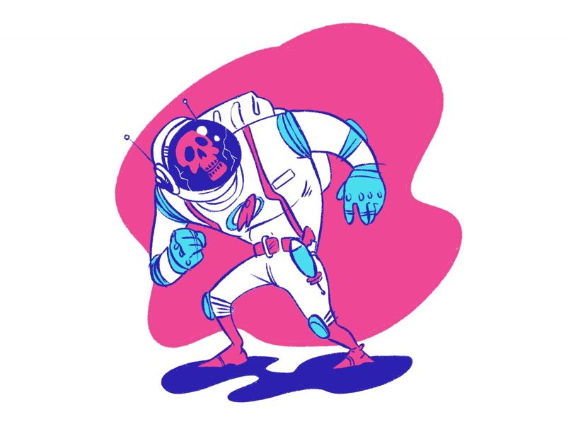 Astronaut Skull skull space astronaut ipad procreate illustration
