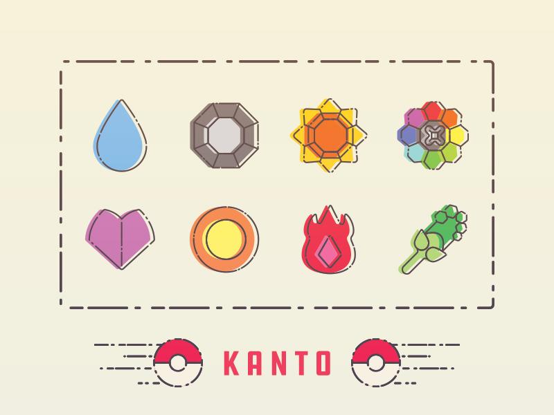 Kanto Badges nintendo game freak vector illustration badge gym badge pokemon kanto