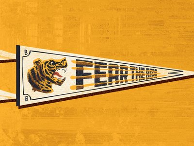 Weekly Warmup - Fear The Bear sports boston bruins boston bruins graphic weekly warm-up pennant branding typography procreate design illustration