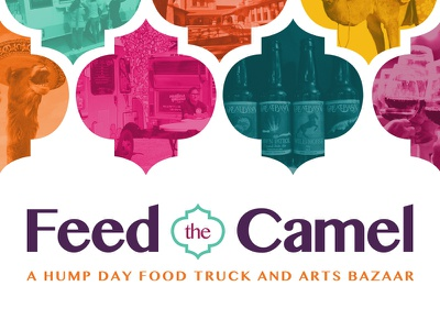 Feed the Camel Logo - Version Two camel food truck food truck event event logo logo bazaar jewel tones