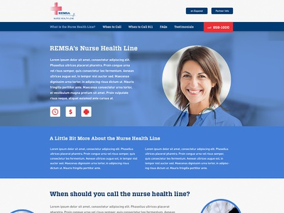 Nurse Health Line Website website healthcare site health one pager landing page