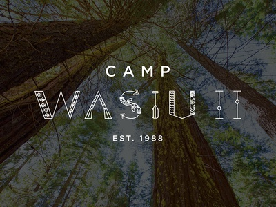 Camp Wasiu line art camp nature outdoor logo camp logo summer camp camp identity