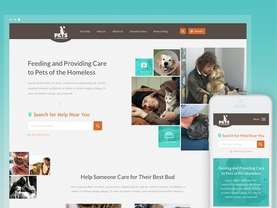 Pets Of The Homeless Homepage cats and dogs responsive animals pets pets of the homeless nonprofit website website nonprofit