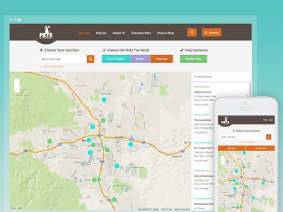 Pets Of The Homeless Map map filters interactive map location detection responsive nonprofit website pets of the homeless nonprofit pets map
