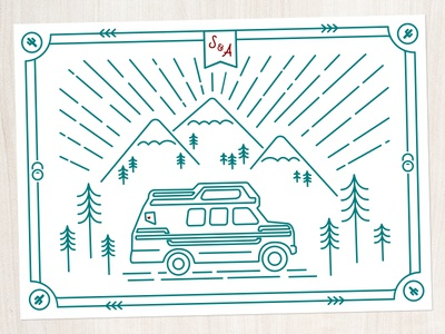 Save the Date Postcard line art mountains spirit of the west nevada adventure postcard outdoors print van wedding invitation wedding save the date