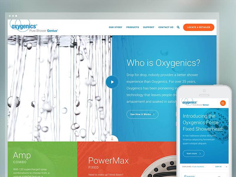Oxygenics Site map modular bath shower showerheads ux ui ecommerce responsive