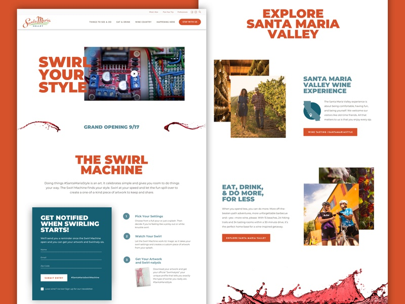 You Control a Wine Swirl | Santa Maria Valley Swirl Machine swirl webdesign ui ux wine landing page