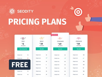 Pricing plans from Seodity | Freebie psd design psd download psd template psd mockup psd ux ui freebies freebie free pricing