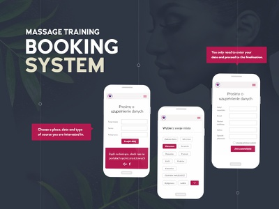 Booking system reservation system booking system course training school spa massage relax ux ui