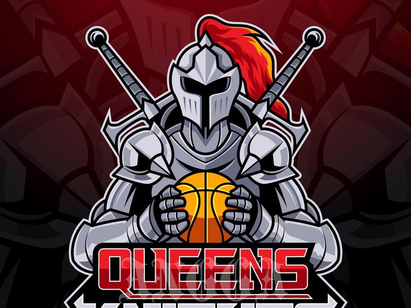 Queens Knights warrior sword queen queens knight design art vintage retro logo mascot vector