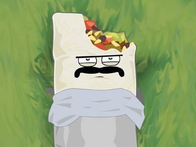 Burrito pondering in the park burrito illustration