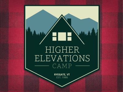 Higher Elevations Camp Badge badge patch camp camping cabin hunting outdoors woods vermont mountains