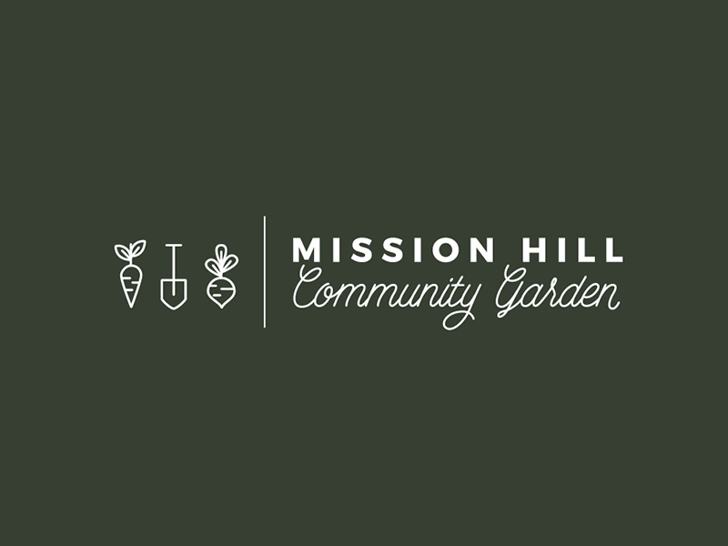 Mission Hill Community Garden Variation icon design line drawings community garden veggies community branding logo design logo