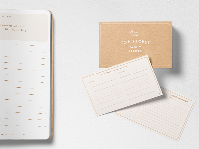 Family Trade Secret Recipe Cards & Workbook collateral identity desing branding typography cards print design